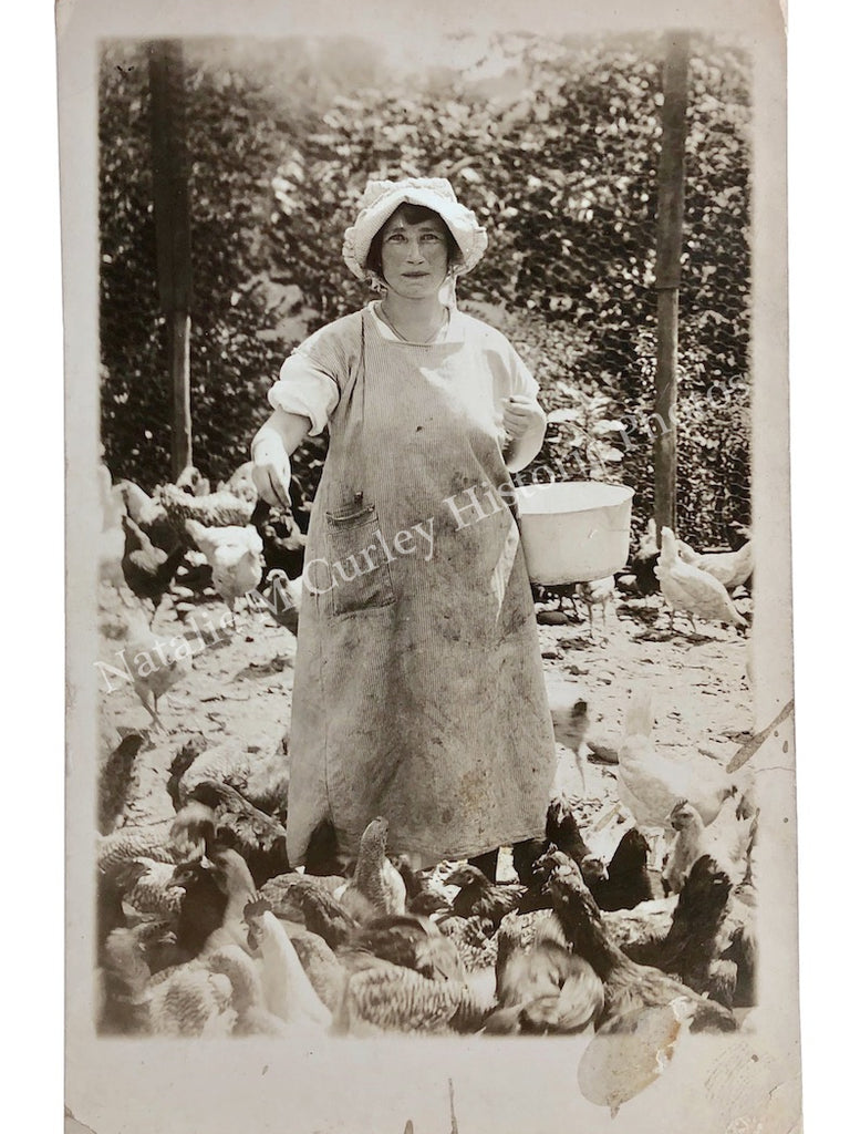 1910s CHICKEN LADY Farm Portrait Photo RPPC