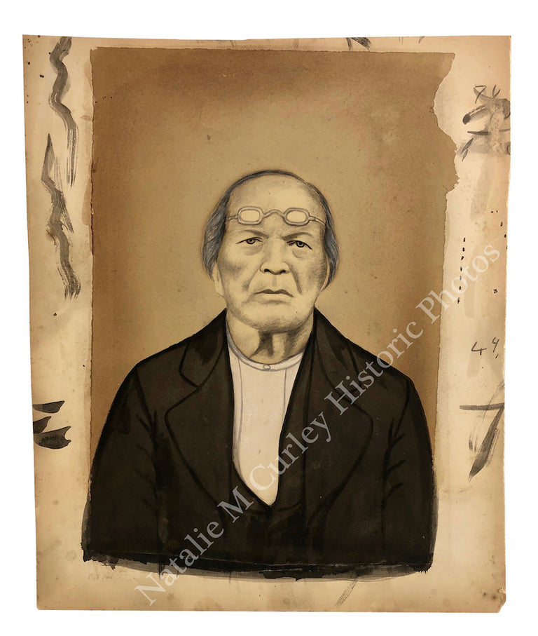 19thc Chinese (American) Elder Portrait Hand Painted Photo