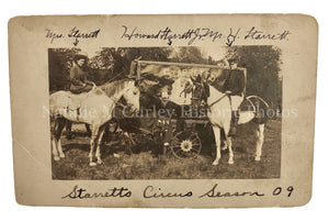 1909 Circus Painted Wagon & Clown Photo RPPC