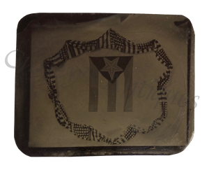 Antique 19thc Cuba Flag American Bunting Political Tintype Photo