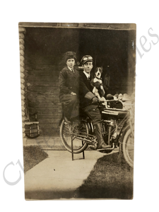 Vintage COOLEST 1920s Indian Motorcycle Family Dog Photo RPPC