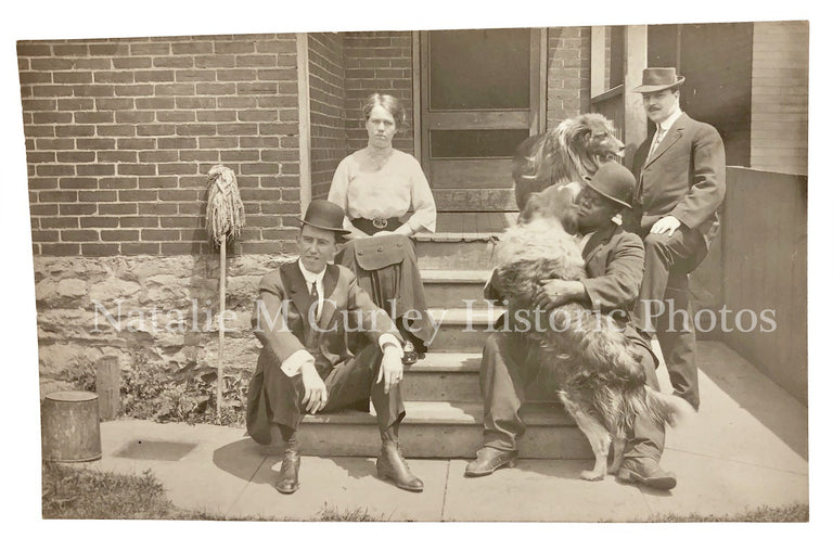 1920s Drs Staff African American Man Collie Dog Photo RPPC