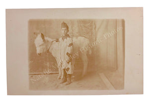 1910s ETHEREAL Costume Boy & Donkey Itinerant Photo RPPC