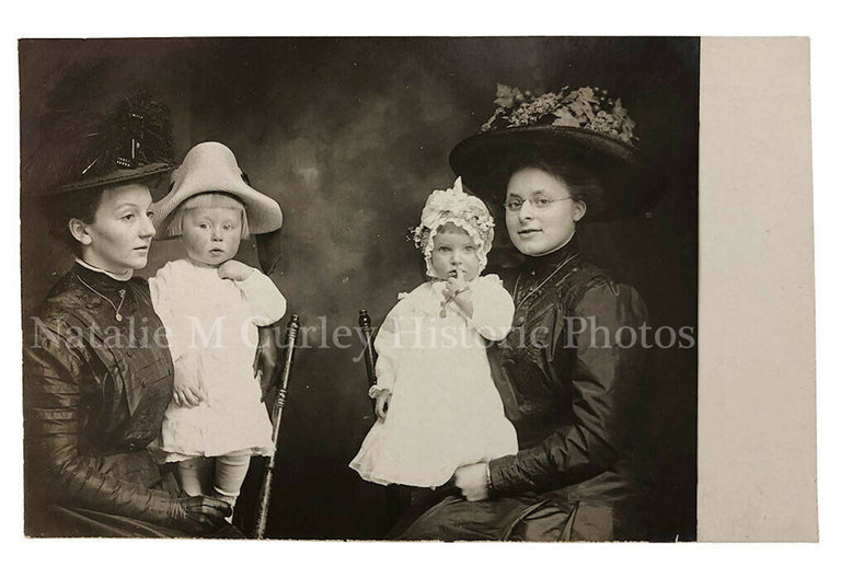 HIGH Edwardian Mothers Children Fashion Portrait Photo RPPC