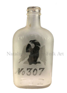 1920s Fraternal Eagle Nude Woman Etched Glass Bottle