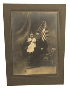 Antique 1900s Father Child American Flag Family Studio Portrait Photo