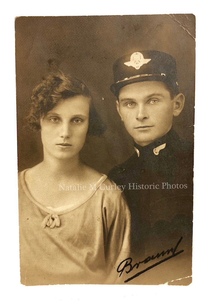 1920s Railroad Police & Sweetheart Portrait Photo