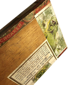 Victorian 19thc FROG Wood Cigar Box Folk Art Rock Collection w/ Teeth