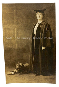 1910s Young Woman Graduate Robe & Dog Studio Photo RPPC