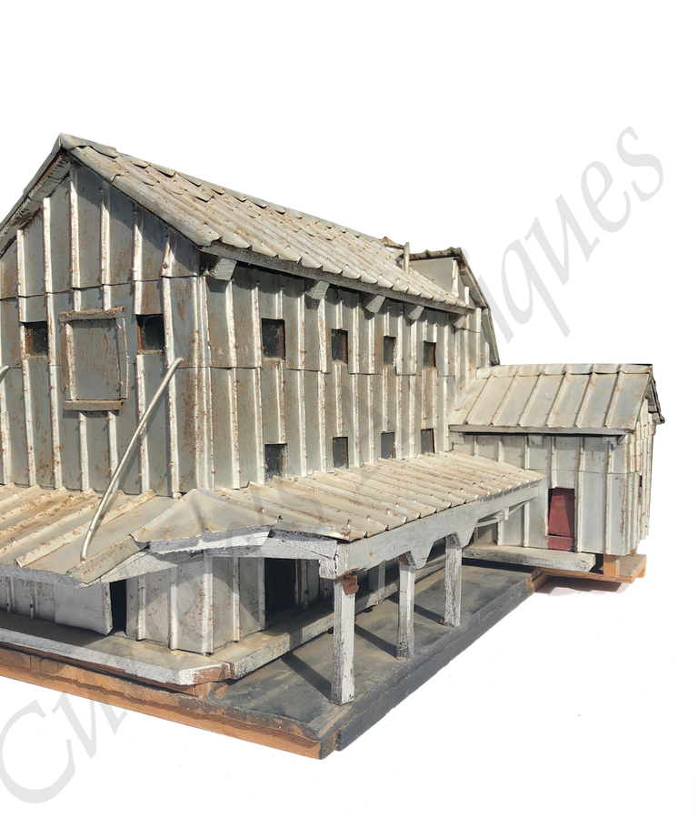 Vintage 1940s Folk Art Farm Granary Building Model