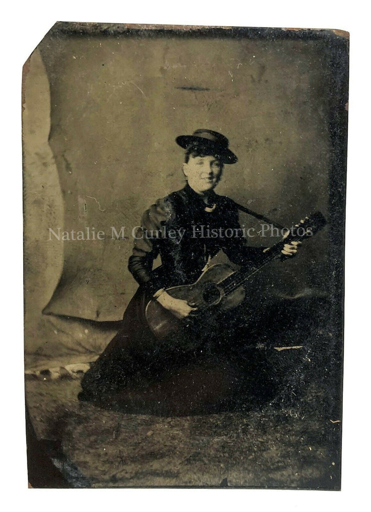 Victorian 19thc Woman Parlor Guitar Music Tintype Photo
