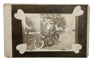 Vintage 1920s Chicago Police Motorcycle Love Token Photo RPPC