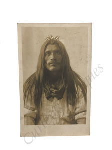 Antique 1908 Native American Mexican California Man Tribal Badge Photo RPPC