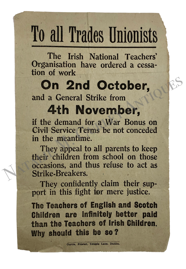 WWI Era Irish National School Teachers Organization Strike Broadside
