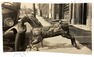 Vintage 1920s Broken Down Wood Carousel Horse Model T Snapshot Photo