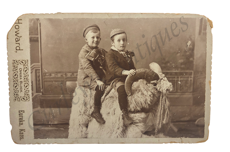 1880s Victorian Children Make Do Big Game Animal Prop Cabinet Photo