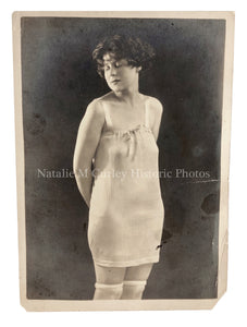 Vintage 1920s Modest Woman Risque Lingerie Studio Photo