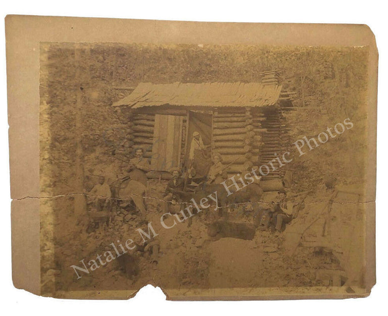 19thc Frontier Log Cabin Camp Enslaved African Americans Photo