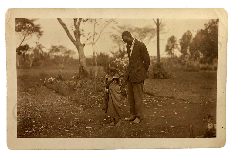 Vintage 1920s African School Teacher Student Missionary Photo RPPC