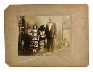 1910s Missionary & Child Make Do Itinerant Studio Sepia Photo