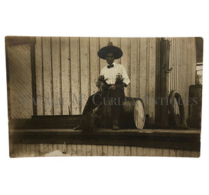 Vintage Monkey Animal Trainer US Southwest Mexico Border Photo RPPC