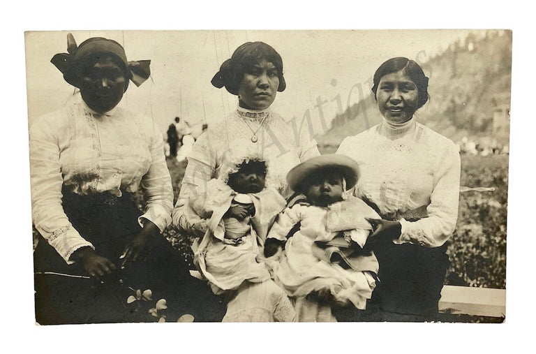 Antique 1910s Native American Women Children Victorian Dress Family Photo