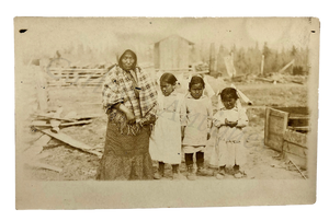Vintage 1920s Heart Wrenching Native American Family Photo RPPC