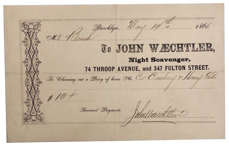1866 New York City Sanitation Night Scavenger Work Receipt