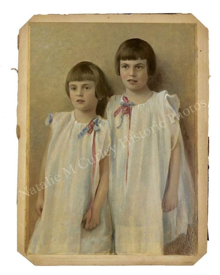 1920s Edwardian Children Painted Photo Portrait Female Photographer