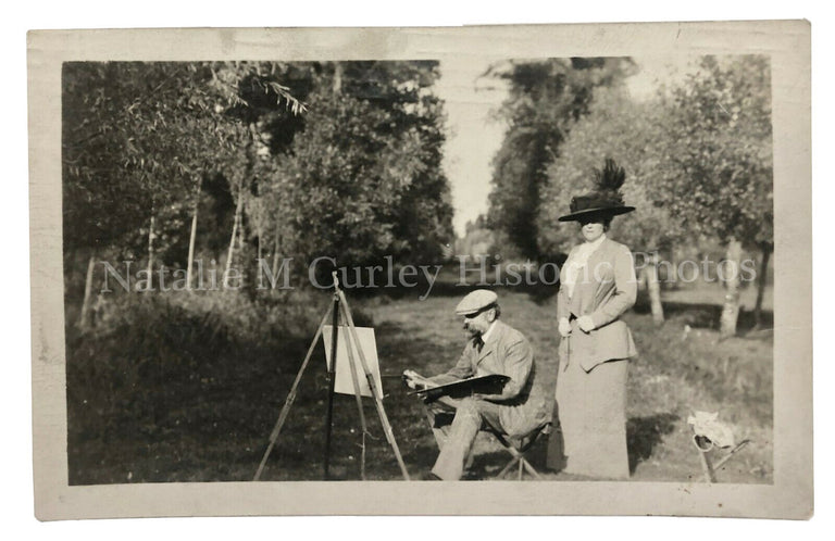 1900s Barbazon Plein Art Oil Painter France Photo RPPC - Identified