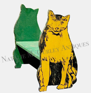 1930s BEST Plywood Pattern Painted Cat Bookshelf
