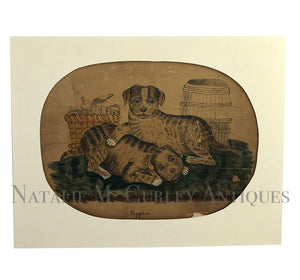 1840s American Folk Art DOGS Pen Drawing Watercolor