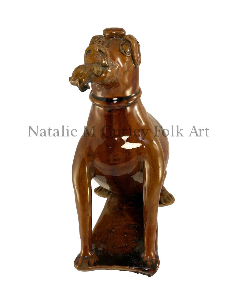 End of Day Hunting Dog Redware Flask