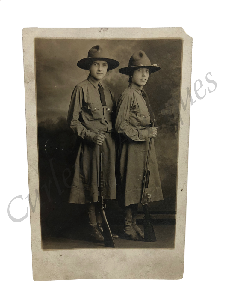 Young Women Rifles AEF Machine Gun Battalion WWI Military Photo RPPC