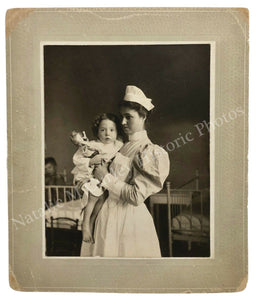 1890s Child Nurse Roosevelt Hospital NYC Portrait Photo