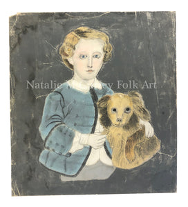19thc H/C Folk Art Boy Dog Portrait Sandpaper Drawing
