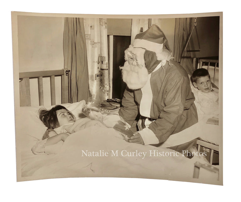 1950s Young Girl Children's Hospital Santa Christmas Gifts Photo