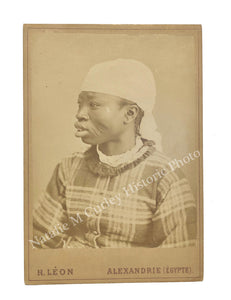 19thc African Woman Tribal Scarification Enslaved Signed Egypt Cabinet Photo