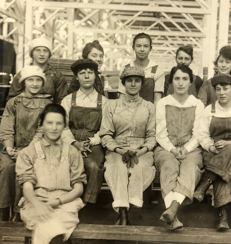 Vintage 1930s FEMALE Wood Sawmill Timber Factory Women's Labor Photo