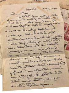1940s Robert Bob Stack Personal Letter Hollywood Celebrity WWII Archive