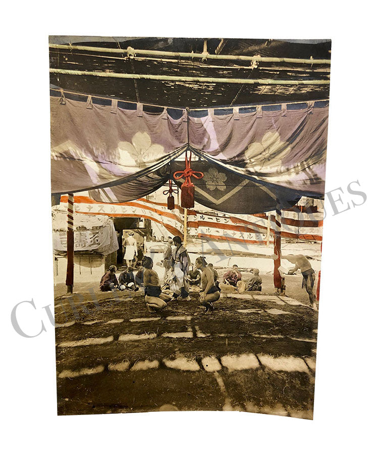 Late 19thc Japan Sumo Wrestling Hand Color Photo