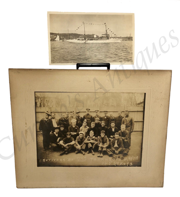 Vintage 1918 WWI Navy Observer U.S.S. Tarantula Crew Ship Wreck Disaster Photo