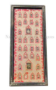 19thc Victorian Folk Art Love Token Sampler Family Photo Tree