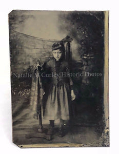 19thc Compelling Girl Child Studio Tintype Photo