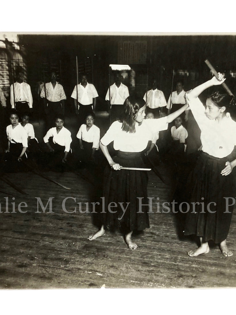 1920s Military Sword Training Tokyo Japan Girls School Photo