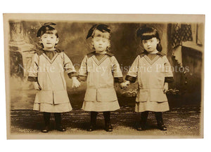 1910s Triplet Sisters Children Sepia Portrait Photo RPPC