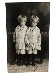 1910s Children Twins Anonymous Master Portrait Photo RPPC