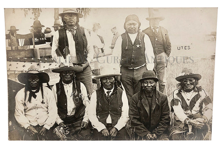 Native American Indian Ute Tribal Elders Sheriff Police Photo RPPC