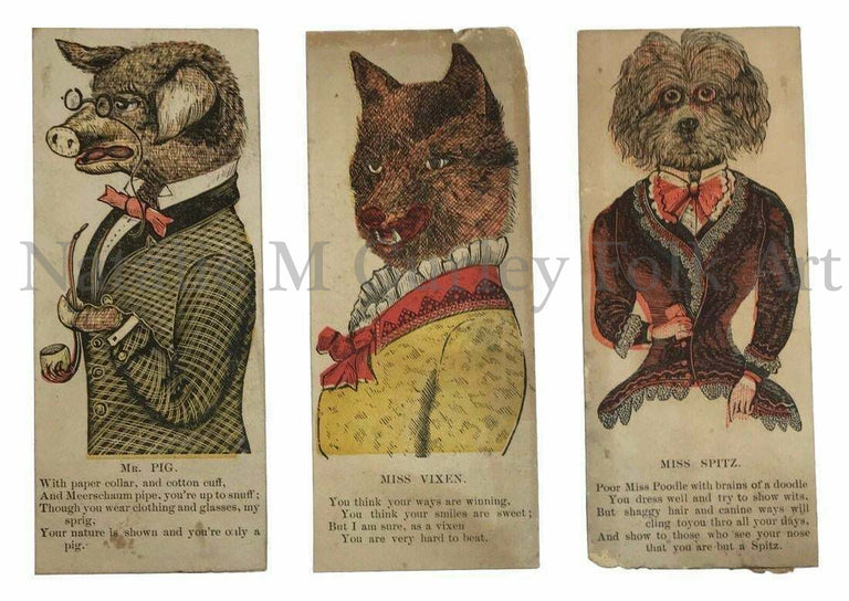 19thc Victorian Animal Vinegar Valentines