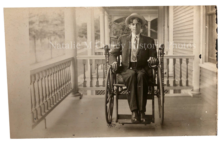 1910s Grocery Store Owner Gear Driven Wheelchair Portrait Photos